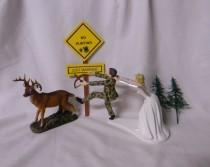 wedding photo - Wedding Reception Party Running Groom Bow & Arrow Camo Deer Hunter Hunting Cake Topper