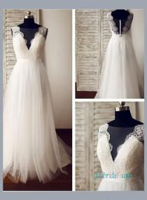 wedding photo - Sexy boho illusion lace low back tulle beach wedding dress