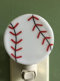 wedding photo - Baseball, Sports, Fused Glass, Play Ball, Night Light, Let's Go Out To The Ball Game