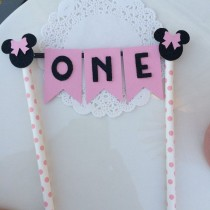 wedding photo - Minnie Mouse Birthday Cake Topper