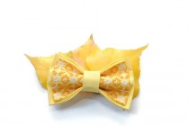wedding photo - Yellow bow tie Embroidered bowties Bowtie for men Greate to coordinate with bridesmaid dress in Gold Daffodil Lemon Marygold Gift ideas him