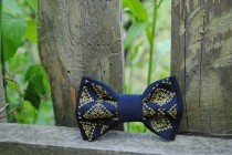 wedding photo - Embroidered navy blue bow tie With gold pattern Wedding in navy gold colours Groomsmen bow ties Nautical bowtie Boho Sparkle men's clothing