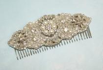 wedding photo - Large Rhinestone Pearl Fascinator Wedding Hairpiece Bridal Comb Art Deco Headband