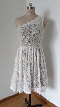 wedding photo - 2015 One-shoulder Ivory Lace Silver Lining Short Bridesmaid Dress