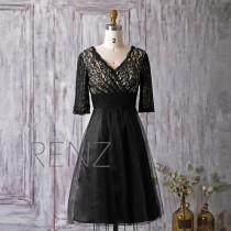 wedding photo - 2016 Black Bridesmaid Dress Short, Lace Mesh Wedding Dress, V Neck Prom Dress, Short Sleeves A Line Evening Gown Mother Of Bride MOB (HS149)