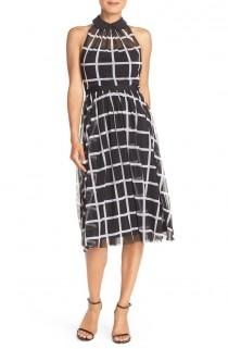 wedding photo - Windowpane Chiffon Fit & Flare Dress