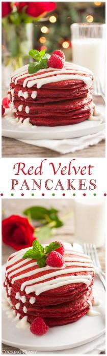 wedding photo - Red Velvet Pancakes With Cream Cheese Glaze (Perfect For Christmas)