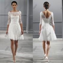 wedding photo -  Illusion Bateau Neck 3/4 Sleeves Monique Lhuillier Spring 2014 Short Wedding Dresses Knee Length Beach Backless Wedding Dress Little White 2014 Online with 115.66/Piece on Hjklp88's Store