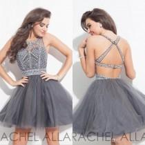 wedding photo -  2016 Elegant Grey Crystal Homecoming Dresses Backless Sexy Tulle Beads Mini Short Cocktail Dresses Party Prom Dress Custom Homecoming Dresses Backless Homecoming Dresses 2016 Homecoming Dresses Online with 142.86/Piece on Hjklp88's Store