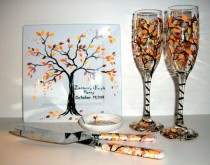 wedding photo - Fall Autumn Hand Painted Champagne Flutes & Cake Knife And Server Set Ring Dish And Cake Plate Fall Leaves Wedding Anniversary Orange Yellow