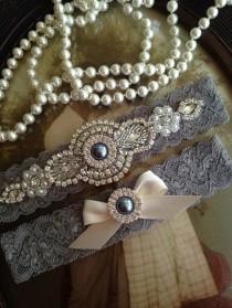 wedding photo - SALE-Wedding Garter-Garters-Stretch lace-gray garter-Garter-Rhinestone-Pearl garter-Keepsake-Gray-Grey-Lace Garter Set-bridal garter-ivory