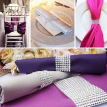 wedding photo - 50 Pcs Covers With Closure Wedding Napkin Chair Sashes Bows Holder