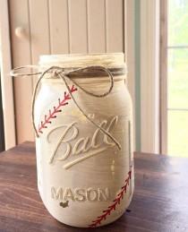 wedding photo - Painted Mason Jars. Baseball Mason Jar. Baseball Party Decor. Baseball Theme Party. Sports Theme Decor. Baseball Baby Shower