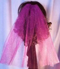 wedding photo - Sparkle Fun Party Veil Comb Bachelorette Shower Bride Practice Veil Costume purple pink black blue fuchsia glitter veil V-Ally-ST