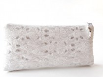 wedding photo - Wedding Clutch, Ivory Silver Lace Clutch for Bride or Bridesmaid, Party Wallet, Cosmetic Purse