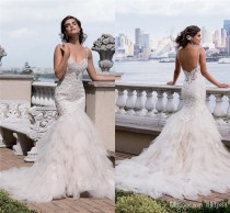 wedding photo -  2016 Gorgeous Eve of Milady Lace Mermaid Wedding Dresses Sexy Backless Missses Crystal Beaded Sweetheart Tiered Skirts Bridal Gowns Lace Wedding Dresses Mermaid Wedding Dresses 2016 Wedding Dresses Online with 171.43/Piece on Hjklp88's Store