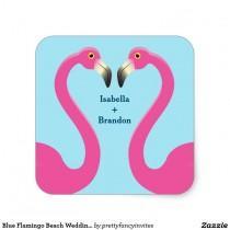 wedding photo - Blue Flamingo Beach Wedding Sticker