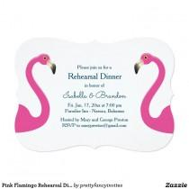 wedding photo - Pink Flamingo Rehearsal Dinner Invitation