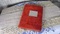 wedding photo - Velvet Covered Red Album for Photos Vintage, 32 Grey Sheets Photo Album From USSR Era, Rare and shabby photo album christmas gift idea