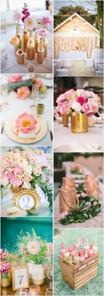 wedding photo - Gallery: Pink And Gold Wedding Color Ideas