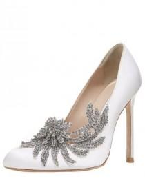 wedding photo - MANOLO BLAHNIK Swan Embellished Satin Pump, White