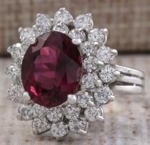 wedding photo - Estate 6.30ct Natural Red Tourmaline And Diamond Ring In14k White Gold