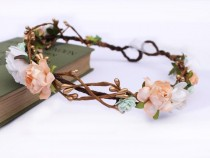 wedding photo - Mint And Peach Rose And Gold Pip Berry Halo, Peach Floral Crown, Mint Floral Crown, Flower Girl Garland, Bridesmaid, Rustic Wedding,