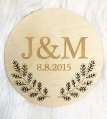 wedding photo - Custom Wedding Date & Initials Sign