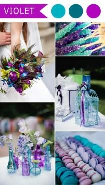 wedding photo - Violet And Teal Blue Peacock Themed Wedding Color Ideas