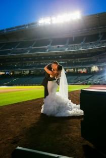 wedding photo - Houston Astros Baseball Themed Wedding - The SnapKnot Blog
