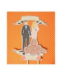 wedding photo - Wedding cake topper-Bride and Groom Modern Vintage