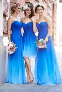 wedding photo - Ombre Bridesmaid Dress Different A Line Royal Blue Ombre Short Long Bridesmaid Dresses For Summer Beach Weddings From Dresscomeon