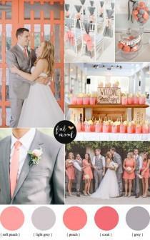 wedding photo - Peach Coral And Grey Wedding Palette