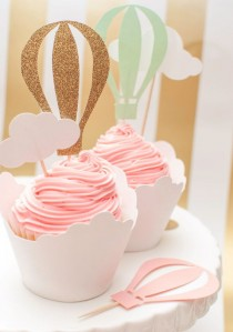 wedding photo - Up Up And Away Hot Air Balloon Cupcake Toppers In Pink Mint And Gold Set Of 12
