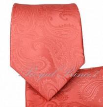 wedding photo - New Men's Paisley Pattern Italy Design Necktie And Pocket Square Hankie Set Wedding Formal Prom Coral, Orange, Dark Purple, Aqua Green, Pink