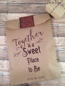 wedding photo - Hot Chocolate Or Candy Wedding Favors. Custom Favor Bags.  Unique Winter Wedding Favors. Pkg Of 25