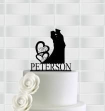 wedding photo - Wedding Cake Topper,Mr And Mrs Cake Topper With Heart,Military Wedding Cake Toppers Army,Custom Wedding Cake Topper,Rustic Wedding Topper