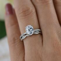 wedding photo - 1.25 ctw Oval Art Deco Swirl Wedding Set, Solitaire Ring, Half Eternity Rings, Man Made Diamond Simulants, Engagement Ring, Sterling Silver