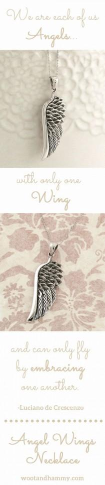 wedding photo - Angel Wing Pendant Necklace In Sterling Silver
