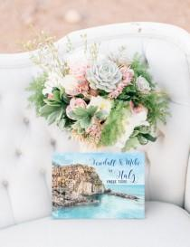 wedding photo - Digital Printable Files Destination Wedding Cinque Terre Italy Watercolor Wedding Invitation RSVP Thank You Wedding Stationery ID904
