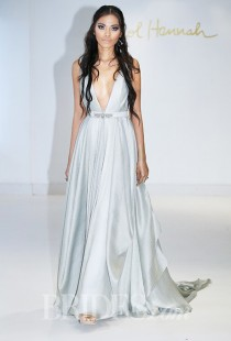 wedding photo - Carol Hannah - Fall 2015 - Azurite Sleeveless V-neck A-line Wedding Dress in Pale Blue - Stunning Cheap Wedding Dresses