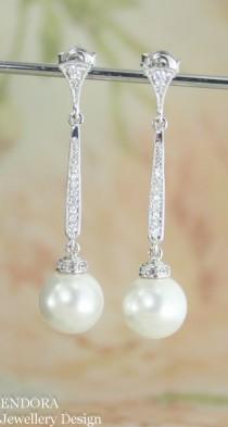 wedding photo - Long Pearl Earrings,bridal Pearl Drop Earrings,pearl Drop Earring,white Pearl Earrings,statement Pearl Earrings,vintage Style Pearl Earrings