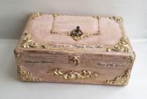 wedding photo - Blush pink gold wooden wedding card box,Golden vintage baroque ornaments,Personalization-the names and the wedding date. Blush gold card box