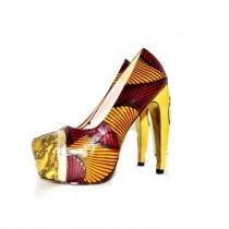 wedding photo - Luxury Platform Shoes African Print Platform Wedding Shoes