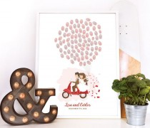 wedding photo - scooter guest book, motorbike wedding guestbook, moped guest book, thumbprint balloon wedding book, motorbike guest book, thumbprint tree