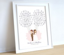 wedding photo - wedding couple guestbook idea holding balloons, fingerprint thumbprint guestbook, wedding balloon finger print thumb print guest book.