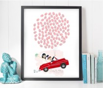 wedding photo - car guest book, car wedding guestbook, sports car wedding guest book, thumbprint balloon wedding book, idea guest book, thumbprint tree