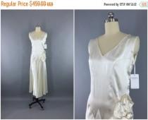 wedding photo - SALE 30% OFF - Vintage 1920s Wedding Dress / 20s Bias Cut Dress / 1930s Art Deco Wedding / 30s White Satin Bridal Gown