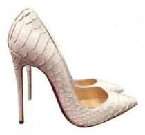 wedding photo - Christian Louboutin So Kate 120 Python Snake White Pumps 52% Off Retail