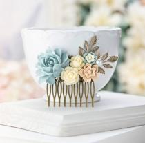 wedding photo - Bridal Hair Comb Powder Blue Ivory Latte Brown Wedding Hairpiece Dusty Blue Bridal Headpiece Woodland Country Barn Wedding Hair Accessory